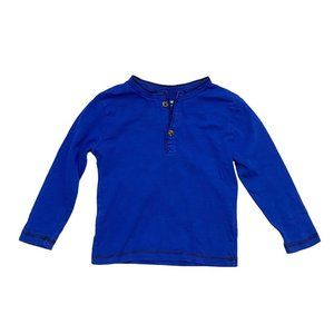 Electric Blue Henley Long Sleeve Shirt
